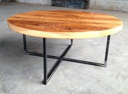 reclaimed wood round coffee table with metal base restoration hardware