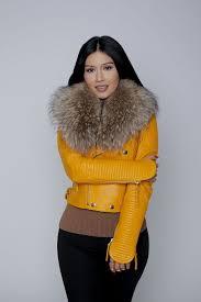 fur collar leather jacket in yellow