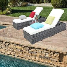 do4u 3 pcs outdoor patio synthetic adjule rattan wicker furniture pool chaise lounge chair set with table 7003 gy