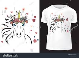Unicorn Flower Crown Template Print On Stock Vector (Royalty Free