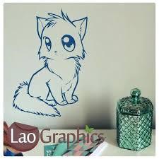 cat wall art manga style house cats stickers home decor feline decals canada cat wall art