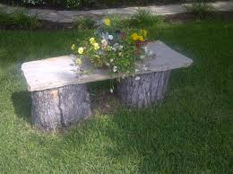 Tree Stump Seats Tree Stump And Flagstone Bench I Made For The Front Yard Outside