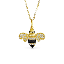 buzz into fashion write the first review elegant ble bee queen bee golden black cubic zirconia pendant necklace for women 14k gold plate