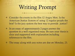 br if you were on trial for murder would you want a jury  writing prompt  consider the events in the film 12 angry men