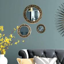 wall mirrors 3 piece wall mirror mirrors set round modern hand carved frames in gold