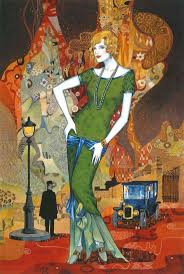 Chinese canadian painter and illustrator Helen Lam Art Deco style.
