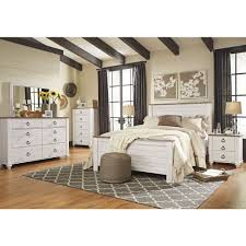 Orlando Bedroom Furniture Ashley Furniture Willowton Panel Bedroom Set In Whitewash Best