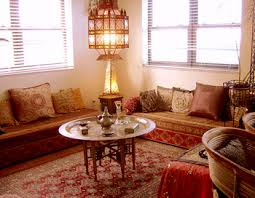 Traditional Moroccan Living Room With Low Benches And Brass Tray Table  Pinterest