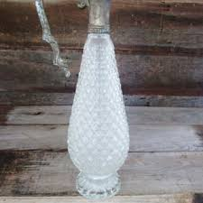 decanter vintage cut glass decanter antique carafe art nouveau silver plated carafe diamond pattern cut glass