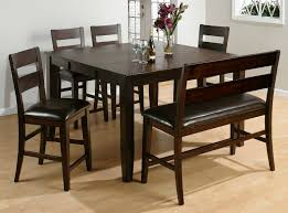 cherry finish and upholstered chairs and bench here s a counter height square dining room table with bench moreover the bench includes