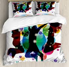 youth king size duvet cover set happy people teenagers jumping and bubbles in vibrant colors partying with friends decorative 3 piece bedding set with 2