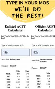 Acft Mos Chart Acft Standards By Mos New Army Pt Test