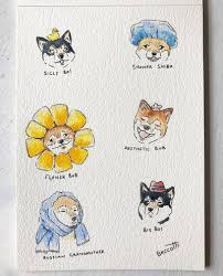 Aesthetic cute drawing Peach Cute Doggos With Hats Tumblr Watercolour Aesthetic Tumblr