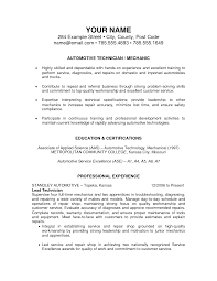 Mechanic Resume Template Resume Examples Templates Best Automotive Technician Resume 2