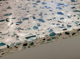 bretagne blue vetrazzo recycled glass countertop close up