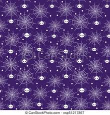 Purple Background Designs Vector Seamless Pattern With Cartoon Spiders And Webs In White Color On Purple Background For Halloween Designs