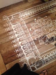 carpet paint. stencil and painted rug ideas for wood floors - always wanted to do this carpet paint