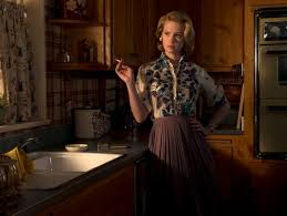 """cultivating tv aesthetics sciencenordic betty draper stages herself in the kitchen on the tv series """"mad men"""" a perfect facade realistic 1960s colouring camouflages an unhappy life"""