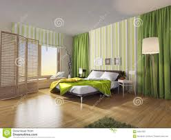 Modern Bedroom Interior With Green Curtain