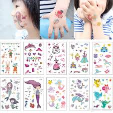 Cute Kids Temporary Tattoo Mermaid Princess Castle Cat Octopus Body Art Tattoo Sticker Designs For Face Arm Hands Neck Fashion Birthday Gift