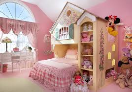 cozy print bedroom ideas with arched window and area rug also decorative waste basket plus doll bed with dollhouse bed and dress form also pink walls