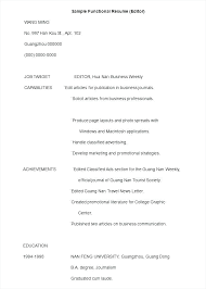 functional resume format example resume format samples prettify co