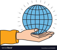 Download Palm Chart Colorful Silhouette Hand Palm Giving A Globe Chart