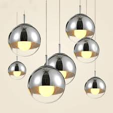 modern pendant lights 2 3 plated mirror glass lampshade pendant lamps round silver globe re led indoor hanging light fixture light pendant lighting