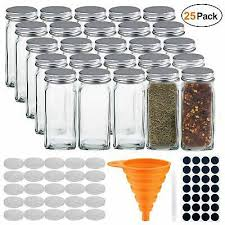 25 condiment pots glass spice jars square containers set 4oz empty airtight jar