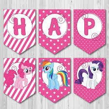 Small Picture Pink Happy Birthday Printable Banner from My Little Pony