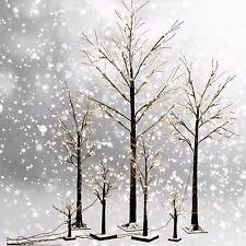 7 Ft Winter White Twig Tree With LED Lights IndoorOutdoor Frosty Twig Tree Christmas