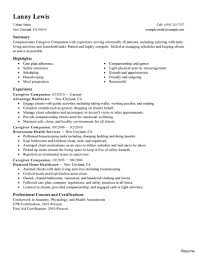Caregiver Resume Sample Resume Samples For Caregiver Example Examples Of Sample With 15