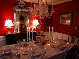 dining room table decorations with red wall