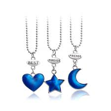 whole candy color f necklaces for 2 3 cartoon best friends necklace moon star jewelry heart crystal shows crown flower rainbow shoes blue pendant