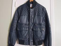 saks fifth avenue men s m genuine leather er jacket deep navy new never worn