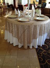 round sheer gold overlay tablecloth