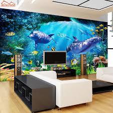 Shinehome Cartoon Onderzeese Seaworld Vis Shell Behang 3d Behang