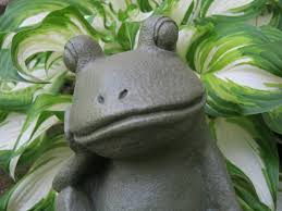 frog garden statue relaxing concrete