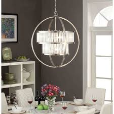 chandelier brushed nickel crystal orb 6light chandelier on free today com 10379623 with dining room s
