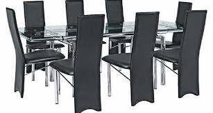 glass extending dining table and chairs. argos savannah black /clear glass extend dining table and 6 cream chairs extending \