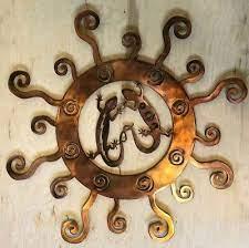 southwest lizards in sun copper patina