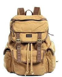 Amazoncom  Serbags Vintage Canvas Leather Travel Rucksack Military  Backpack  Light Brown  Casual Daypacks