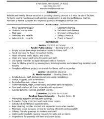 Janitor Description For Resume Megakravmaga Com