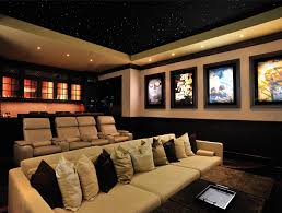 home theatre room decorating ideas of good simple basement home