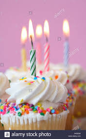 Birthday Cupcakes With Candles Stock Photo 8195208 Alamy