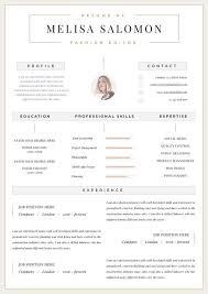 Modern Resume Etsy Professional Resume Template Clean Modern Resume Template