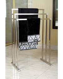 Amazing Deal on Brass Edenscape Free Standing Towel Rack Satin Nickel
