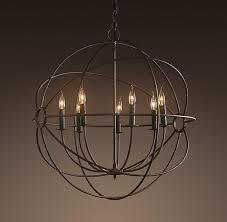 black iron foucault s orb chandelier