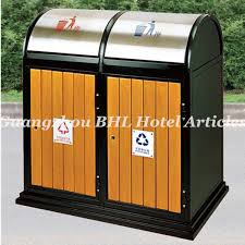 outdoor trash cans. large capacity wooden waste management metal outdoor recycling trash can public decorative garbage cans g
