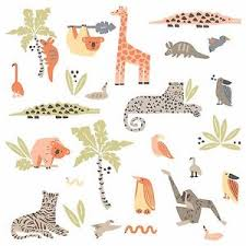 image is loading dwellstudio jungle animals wall decals baby nursery stickers  on jungle animal wall art with dwellstudio jungle animals wall decals baby nursery stickers tiger